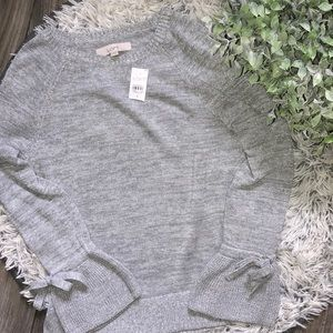 NWT LOFT Gray Long Sleeve with Tie Sleeves, Size S